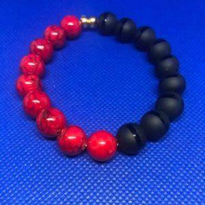 Red Magnesite & Black Onyx 10mm Bead Bracelet